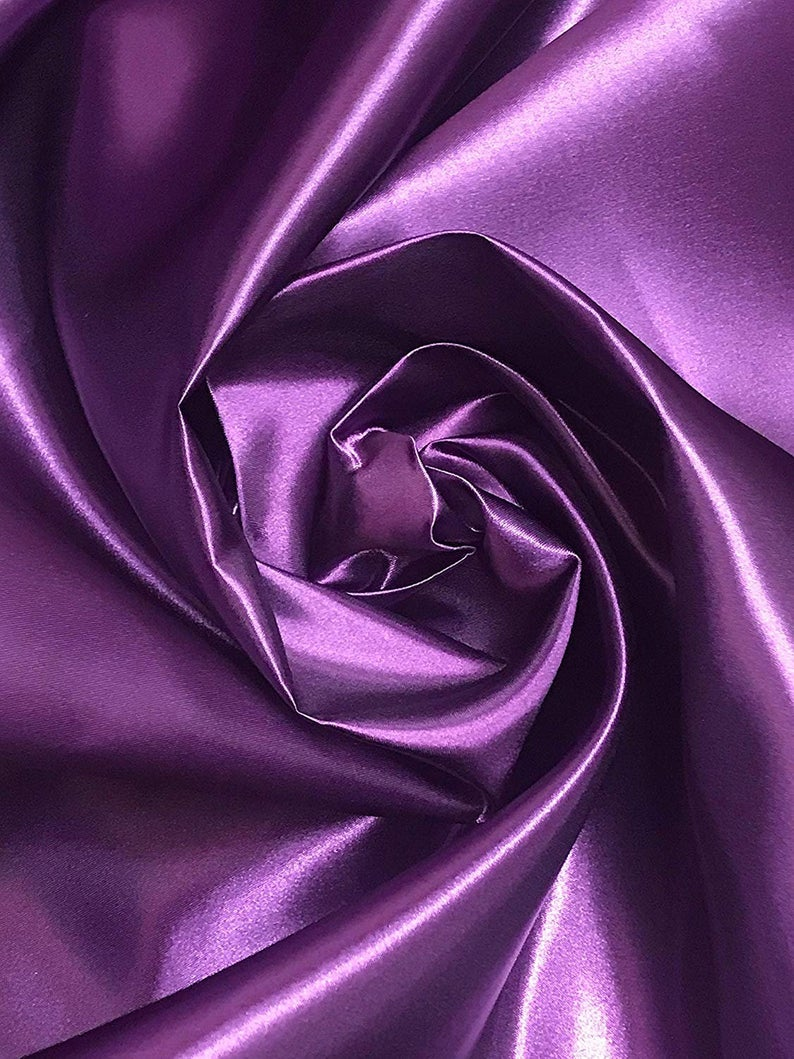 "Bridal Satin Thick and Shiny 60"" Wide Sells by The Yard (Plum) - KINGDOM OF FABRICS"