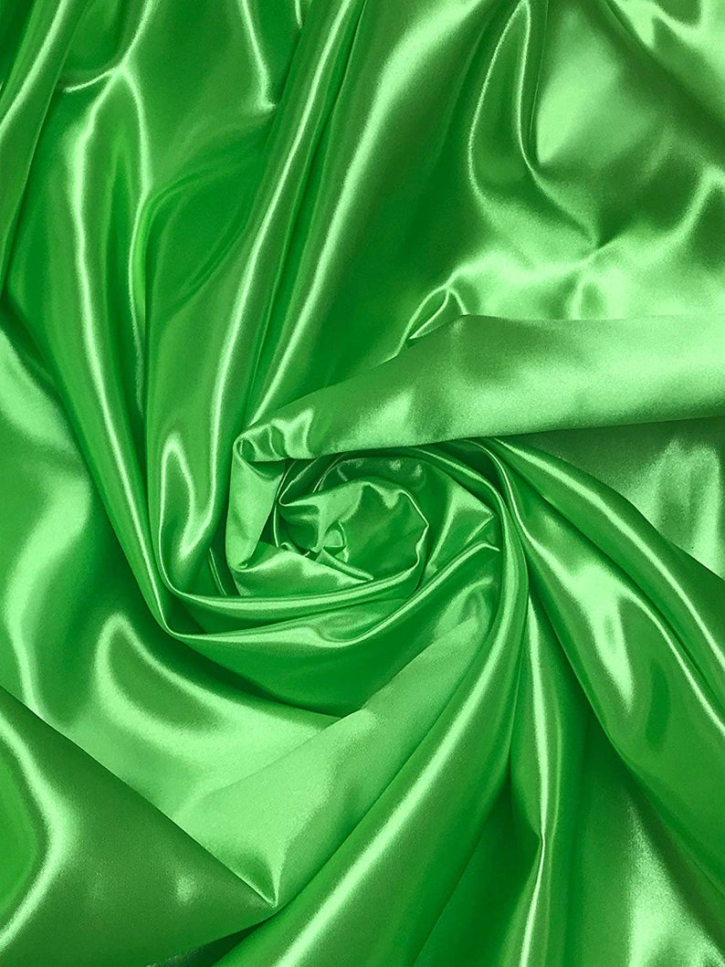 "Bridal Satin Thick and Shiny 60"" Wide Sells by The Yard (Lime) - KINGDOM OF FABRICS"
