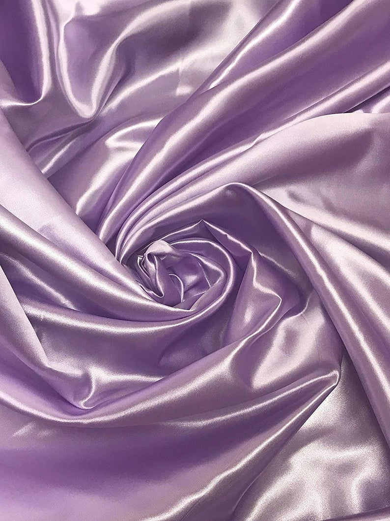 "Bridal Satin Thick and Shiny 60"" Wide Sells by The Yard (Lavender) - KINGDOM OF FABRICS"