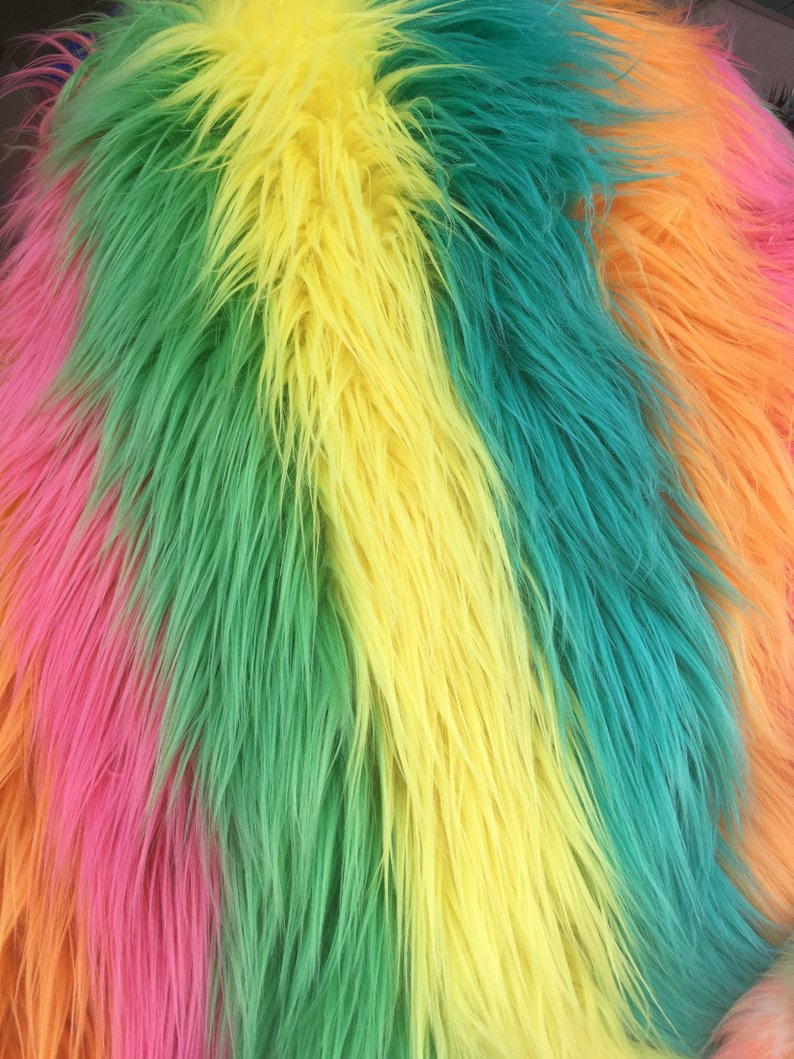 Rainbow Striped Faux Fur - Rainbow 4 - by the Yard Diy Costume Accessories