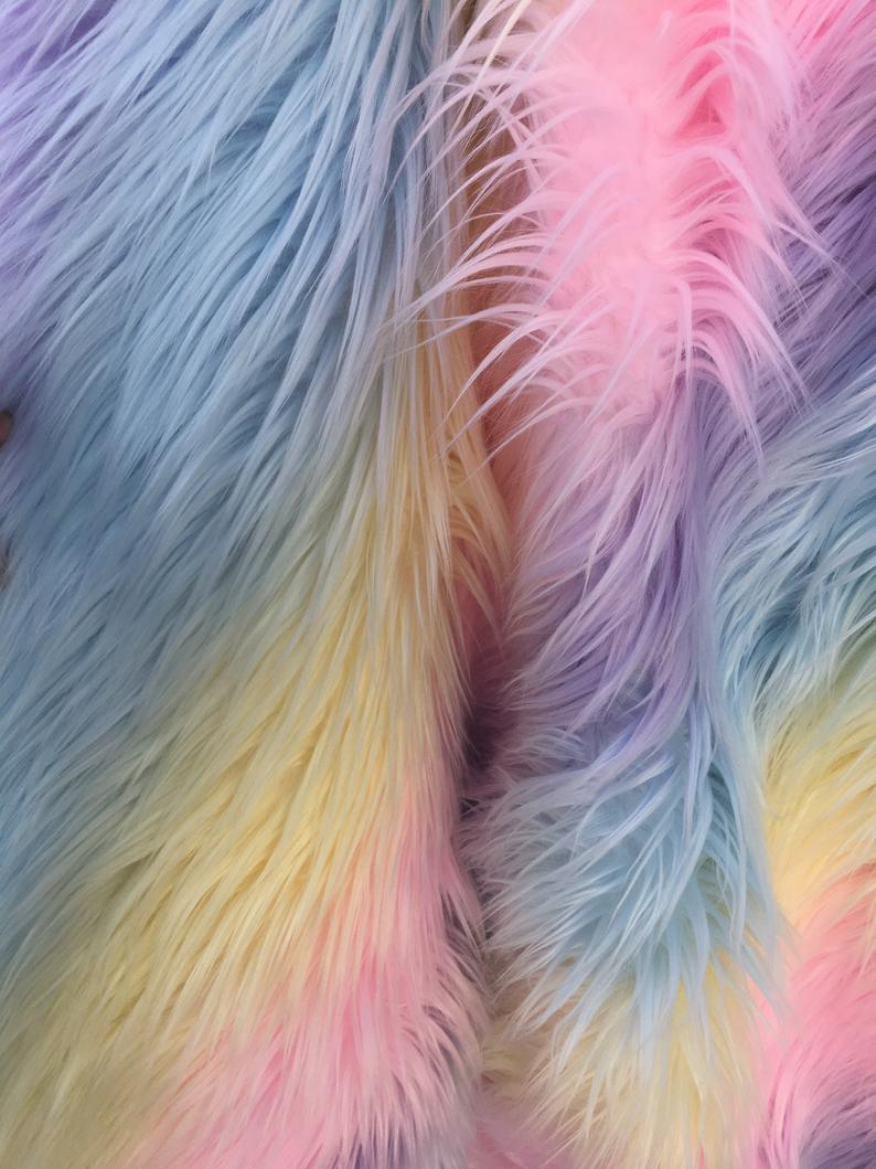 Rainbow Striped Faux Fur - Rainbow 5 - by the Yard Diy Costume Accessories