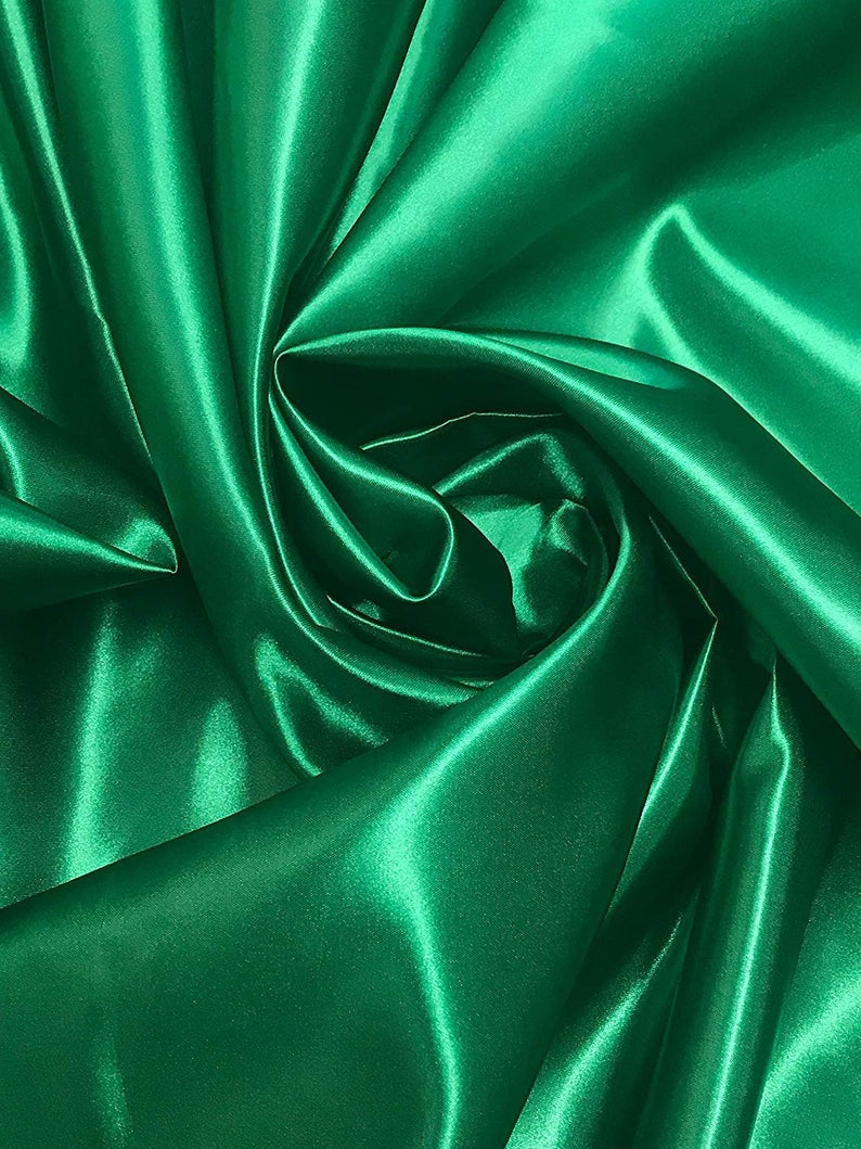 "Bridal Satin Thick and Shiny 60"" Wide Sells by The Yard (Kelly Green) - KINGDOM OF FABRICS"