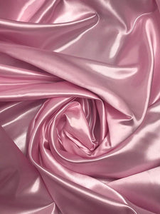 "Bridal Satin Thick and Shiny 60"" Wide Sells by The Yard (Pink) - KINGDOM OF FABRICS"