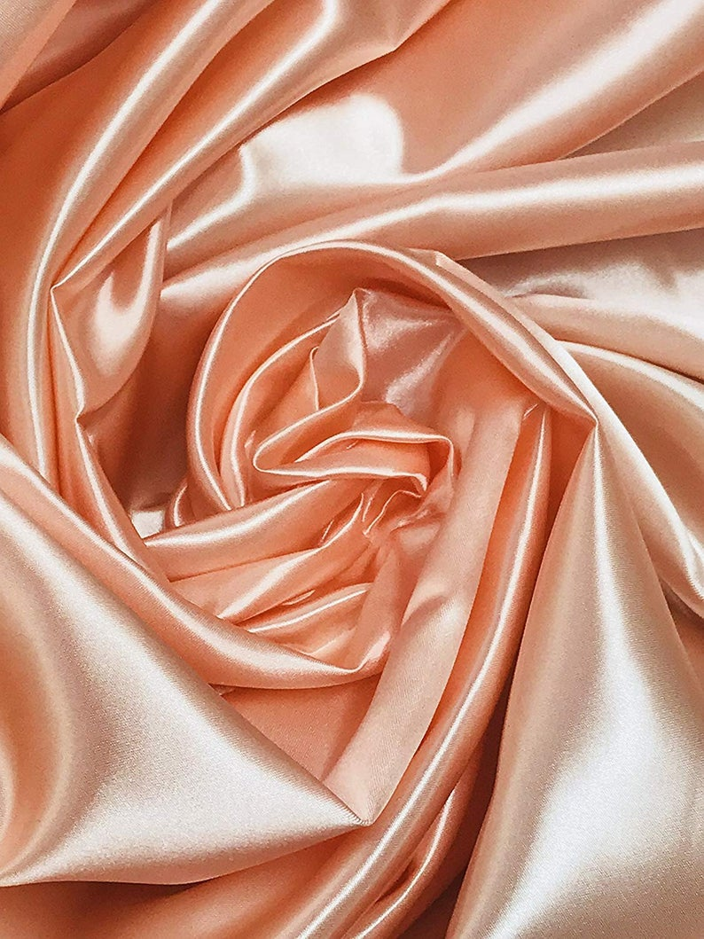 "Bridal Satin Thick and Shiny 60"" Wide Sells by The Yard (Peach) - KINGDOM OF FABRICS"