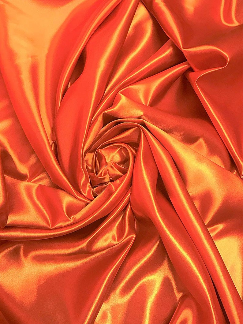 "Bridal Satin Thick and Shiny 60"" Wide Sells by The Yard (Orange) - KINGDOM OF FABRICS"