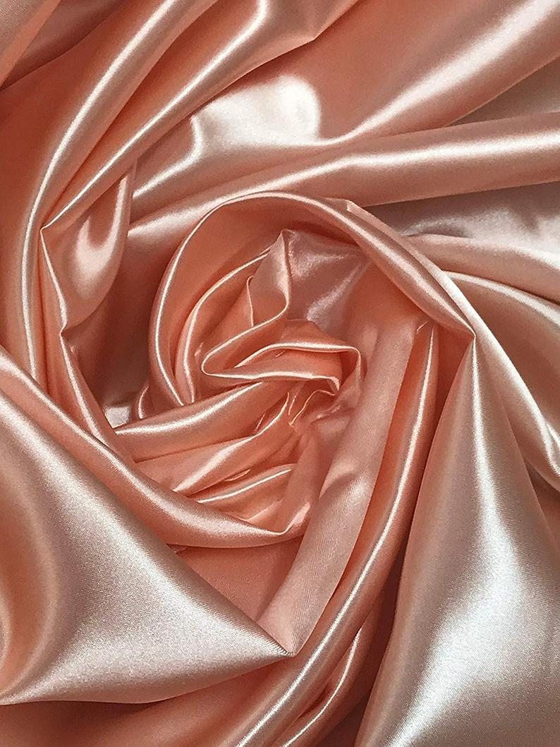 "Bridal Satin Thick and Shiny 60"" Wide Sells by The Yard (Blush) - KINGDOM OF FABRICS"