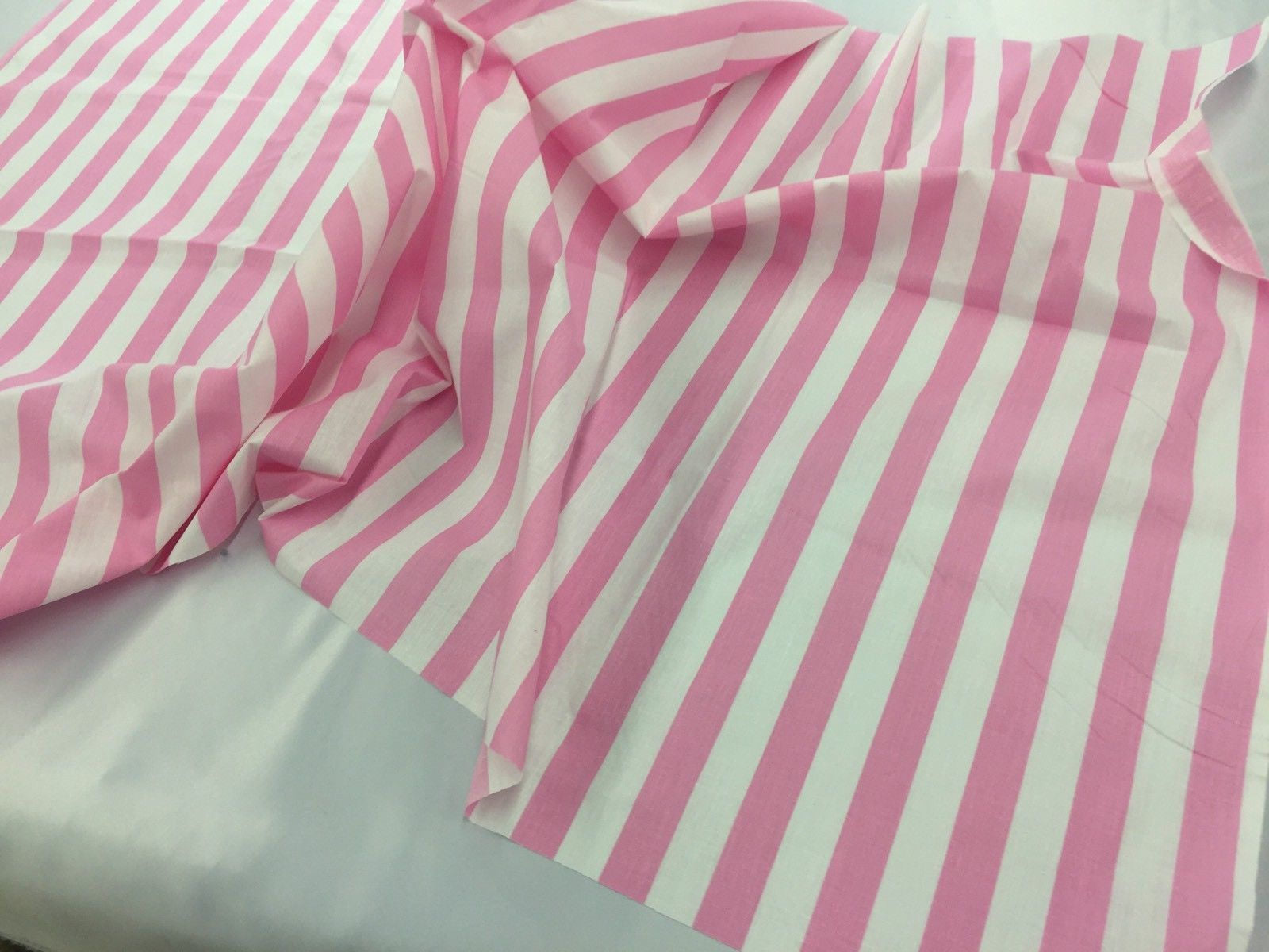 Poly Cotton Fabric Stripe Pink White By Yard - KINGDOM OF FABRICS