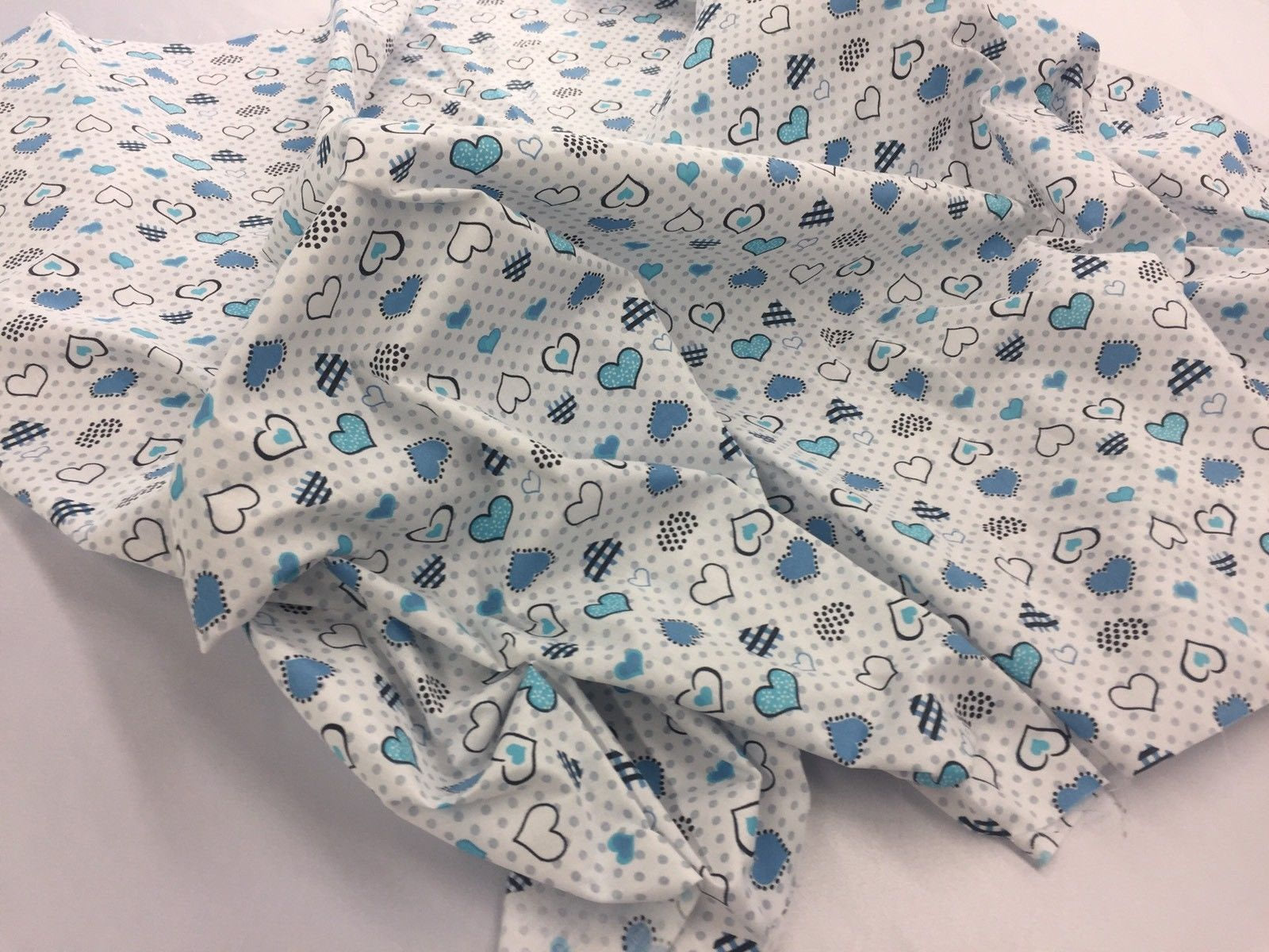 Poly Cotton Fabric Hearts Design Blue Sold By Yard - KINGDOM OF FABRICS