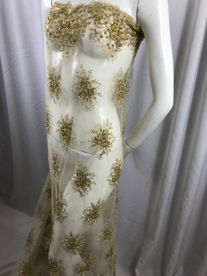 Lace Fabric - Champagne Gaviota Design Embroider Beaded Mesh Dress Wedding Decoration Bridal Veil Nightgown By The Yard - KINGDOM OF FABRICS