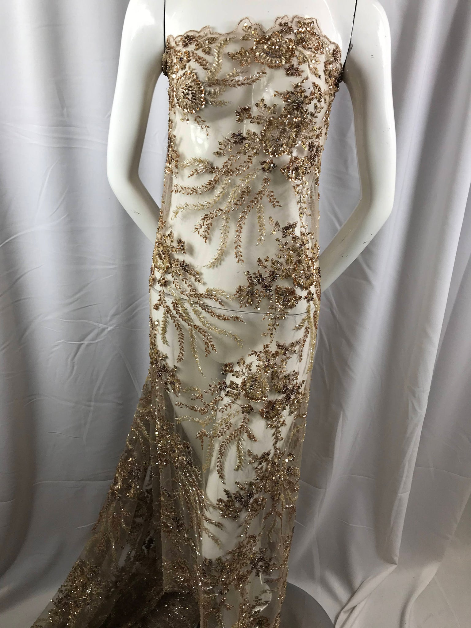 Embroidered Beaded Fabric - Taupe Multi-Color Floral Bridal Lace ...