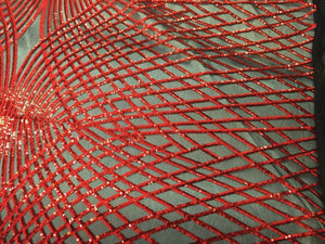 Supreme Red Venom Diamond Web Embroider Sequins On Black Mesh Lace Fabric-Prom - KINGDOM OF FABRICS