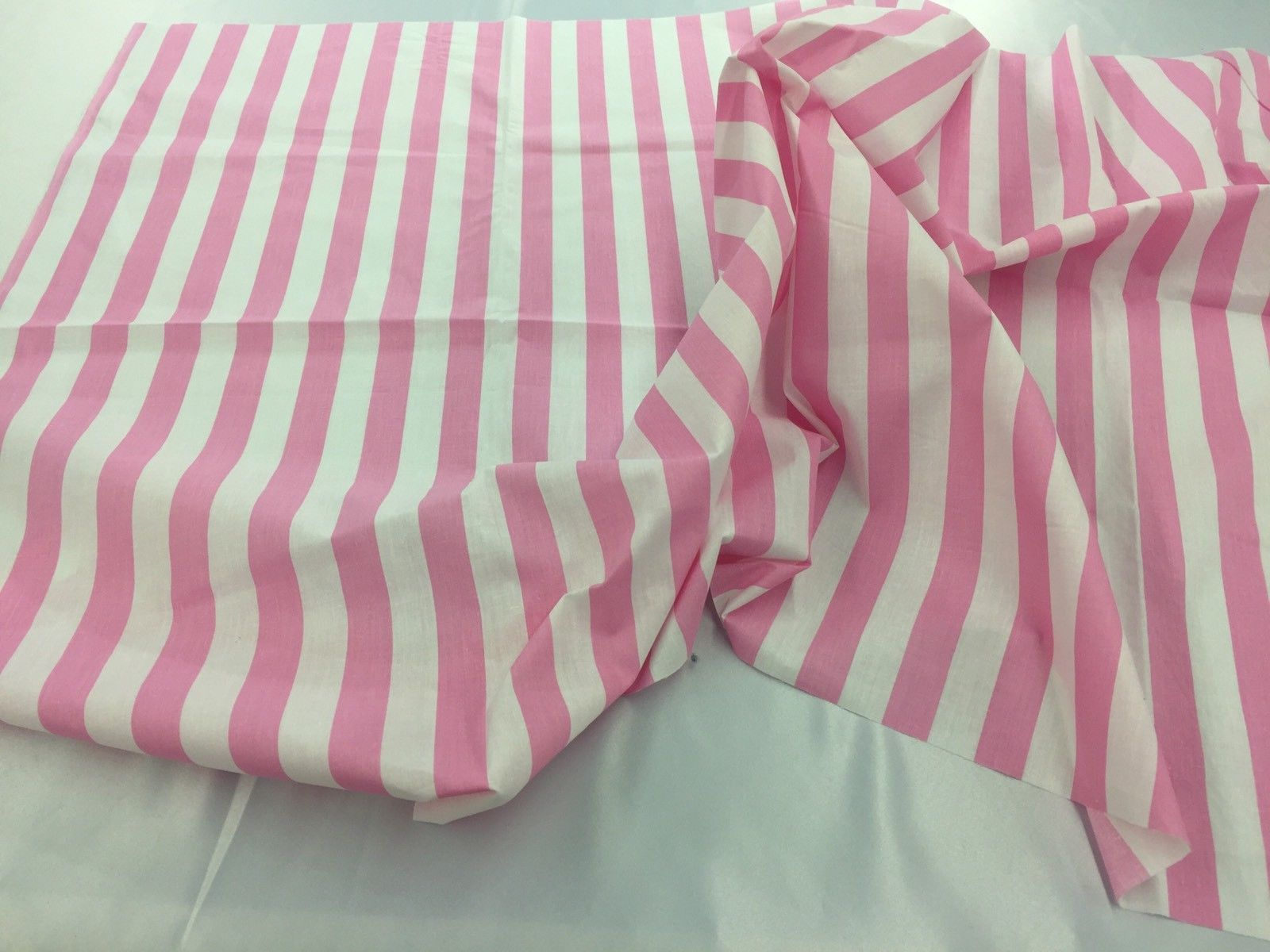 Poly Cotton Fabric Stripe Pink White By Yard