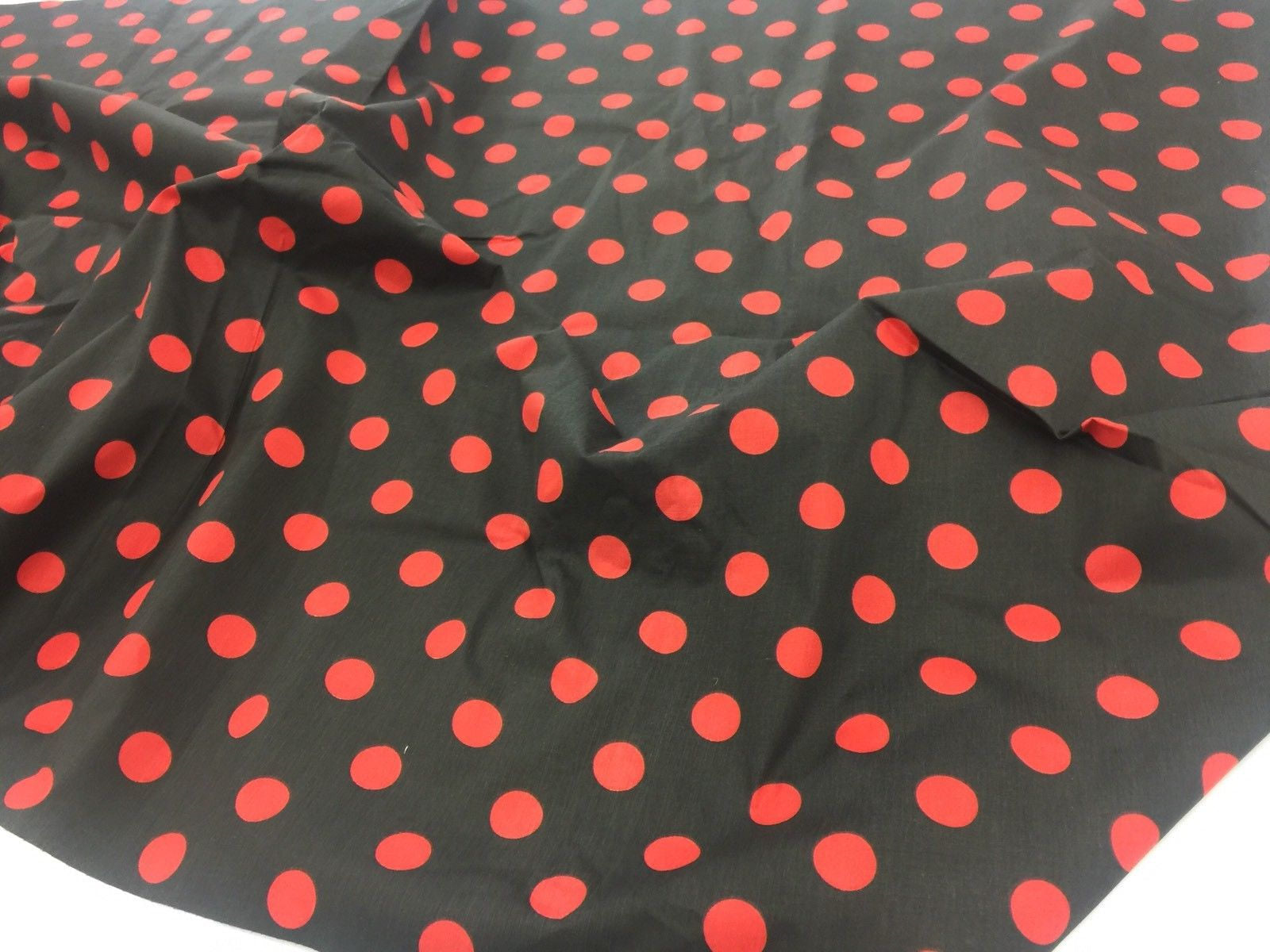 Poly Cotton Fabric Black Red Polka Dot Design By Yard - KINGDOM OF FABRICS