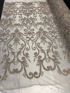Bridal Beaded - French Design Heavy Hand Embroidery Lace Fabric Lt Pin-MultiColor Embroidered Mesh Dress Flower Wedding By The Yard - KINGDOM OF FABRICS