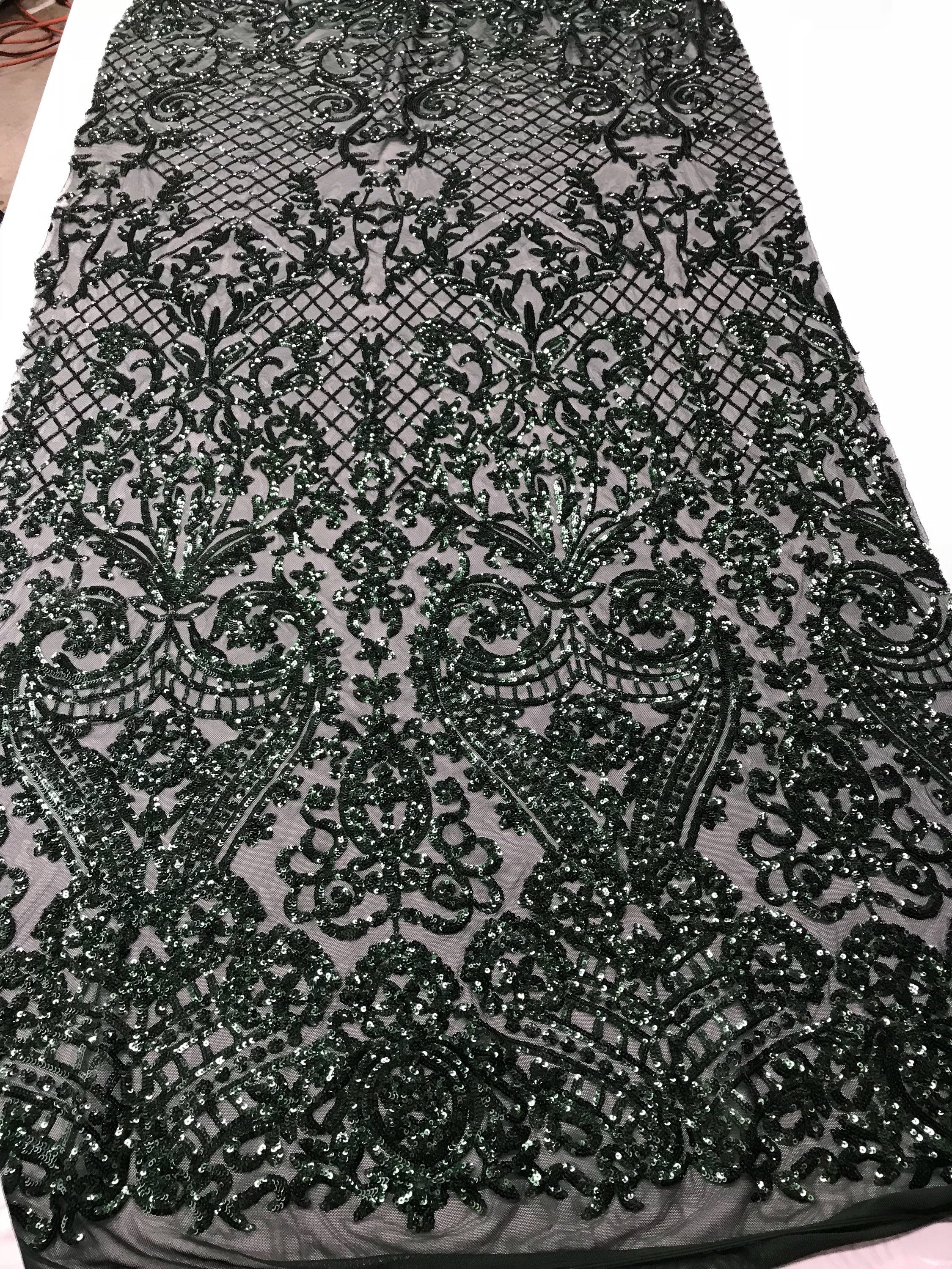 Concord 4 Way Stretch Fabric Sequins By The Yard - Hunter Green Embroidered Mesh Dress Top Fashion For Bridal Veil Wedding Lace Decoration - KINGDOM OF FABRICS