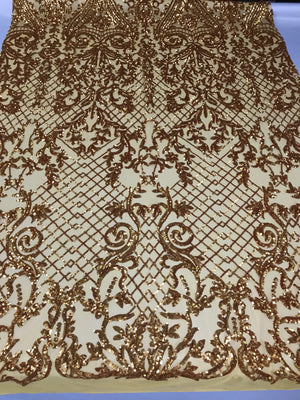 Concord 4 Way Stretch Fabric Sequins By The Yard - Gold Embroidered Mesh Dress Top Fashion For Bridal Veil Wedding Lace Decoration - KINGDOM OF FABRICS