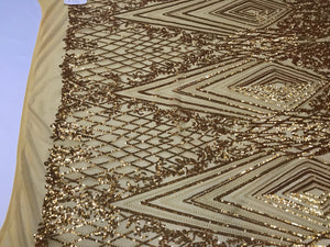 Diamond 4 Way Stretch Fabric - Gold Embroidered Sequins Lace Fashion Dress Bridal Veil Wedding Decoration By The Yard - KINGDOM OF FABRICS