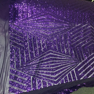 Purple Geometric Sequins Embroider On A Mesh.wedding/Bridal/Nightgown Fabric - KINGDOM OF FABRICS
