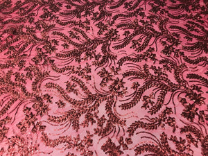 Burgundy Power Mesh - 4 Way Stretch Fabric Embroidered Sequins Lace Fashion Dress Wedding Decoration By The Yard - KINGDOM OF FABRICS