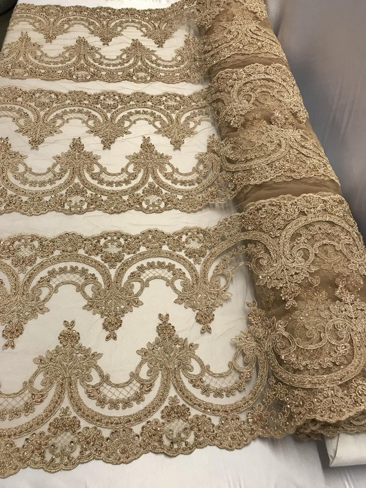 Lace Fabric Beaded Trim Sewing Skin Trimming Edge Embroidered Wedding Craft Bridal Veil By The Yard - KINGDOM OF FABRICS