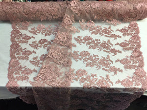 Embroidered Lace fabric - Dusty Rose Flower/Floral Corded Mesh Bridal Wedding Dress By The Yard - KINGDOM OF FABRICS