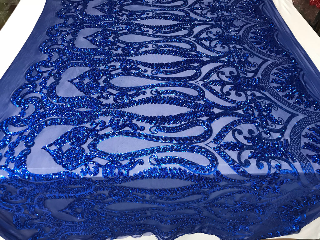 Royal Blue 4 Way Stretch Fabric By The Yard Sequins Fabric Embroidery Power Mesh Dress Top Fashion Prom Wedding Lace Decoration - KINGDOM OF FABRICS