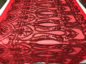 Red 4 Way Stretch Fabric By The Yard Sequins Fabric Embroidery Power Mesh Dress Top Fashion Prom Wedding Lace Decoration - KINGDOM OF FABRICS