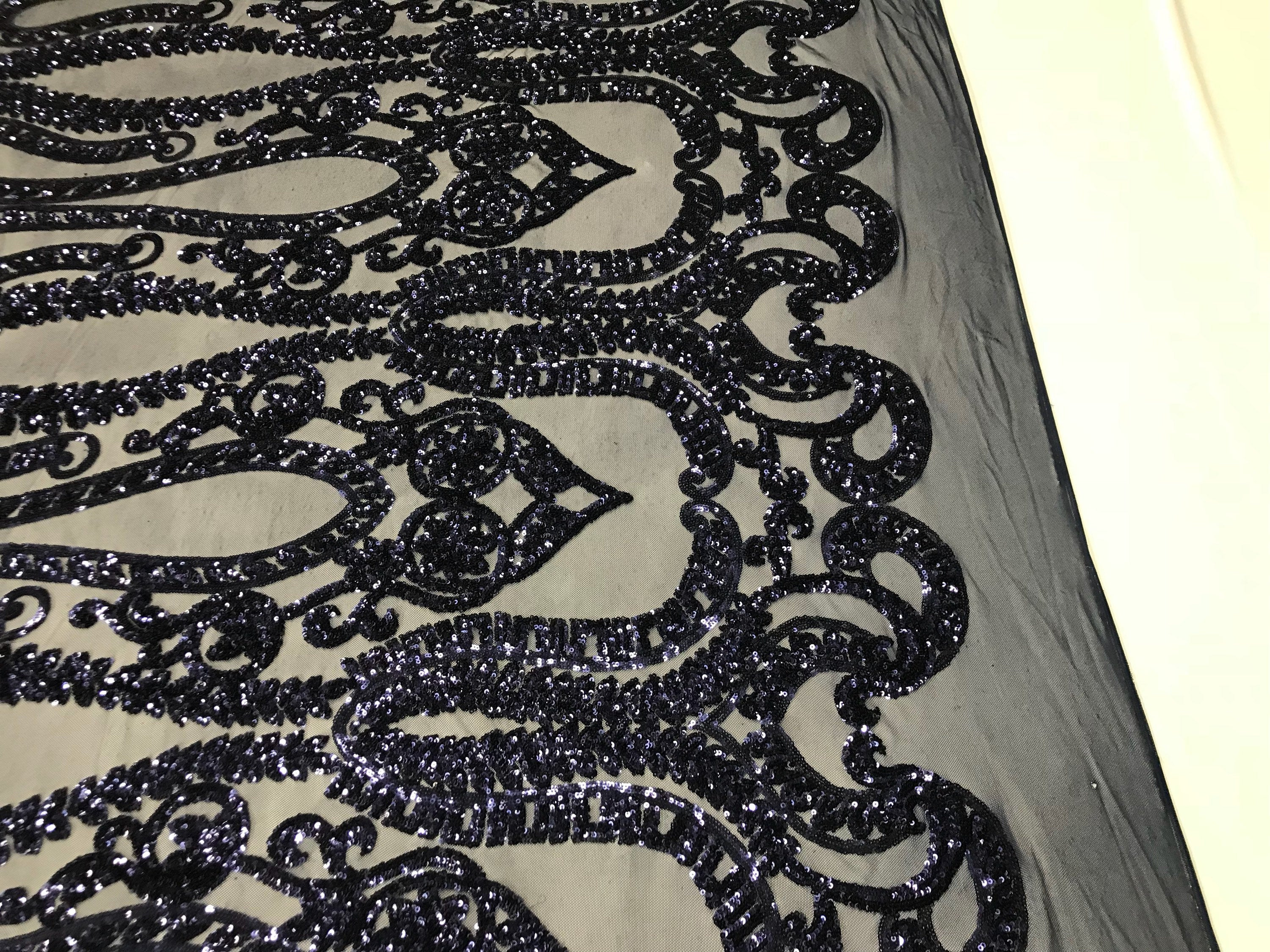 Navy 4 Way Stretch Fabric By The Yard Sequins Fabric Embroidery Power Mesh Dress Top Fashion Prom Wedding Lace Decoration - KINGDOM OF FABRICS