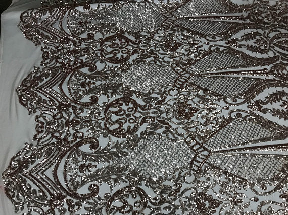 Sequins Fabric 4 way Stretch - Rose Gold Embroidered Mesh Lace For Dress Top Fashion Bridal Wedding Decoration By The Yard - KINGDOM OF FABRICS