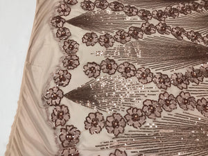 Sequins Fabric - Champagne 4 Way Stretch Embroider Pearls Flower Power Mesh Dress Top Fashion Prom Wedding Decoration By The Yard - KINGDOM OF FABRICS