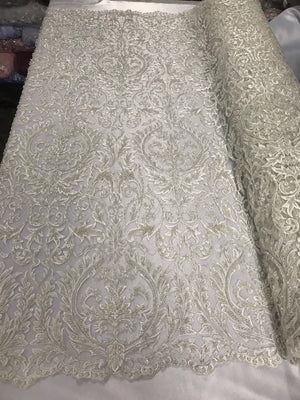 Beaded Fabric - By The Yard Ivory Lace Heavy Beads For Bridal Veil Flower Mesh Dress Top Wedding Decoration - KINGDOM OF FABRICS