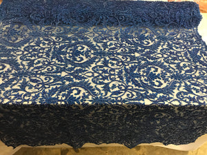 Beaded Fabric - By The Yard Royal Blue Lace Heavy Beads For Bridal Veil Flower Mesh Dress Top Wedding Decoration - KINGDOM OF FABRICS