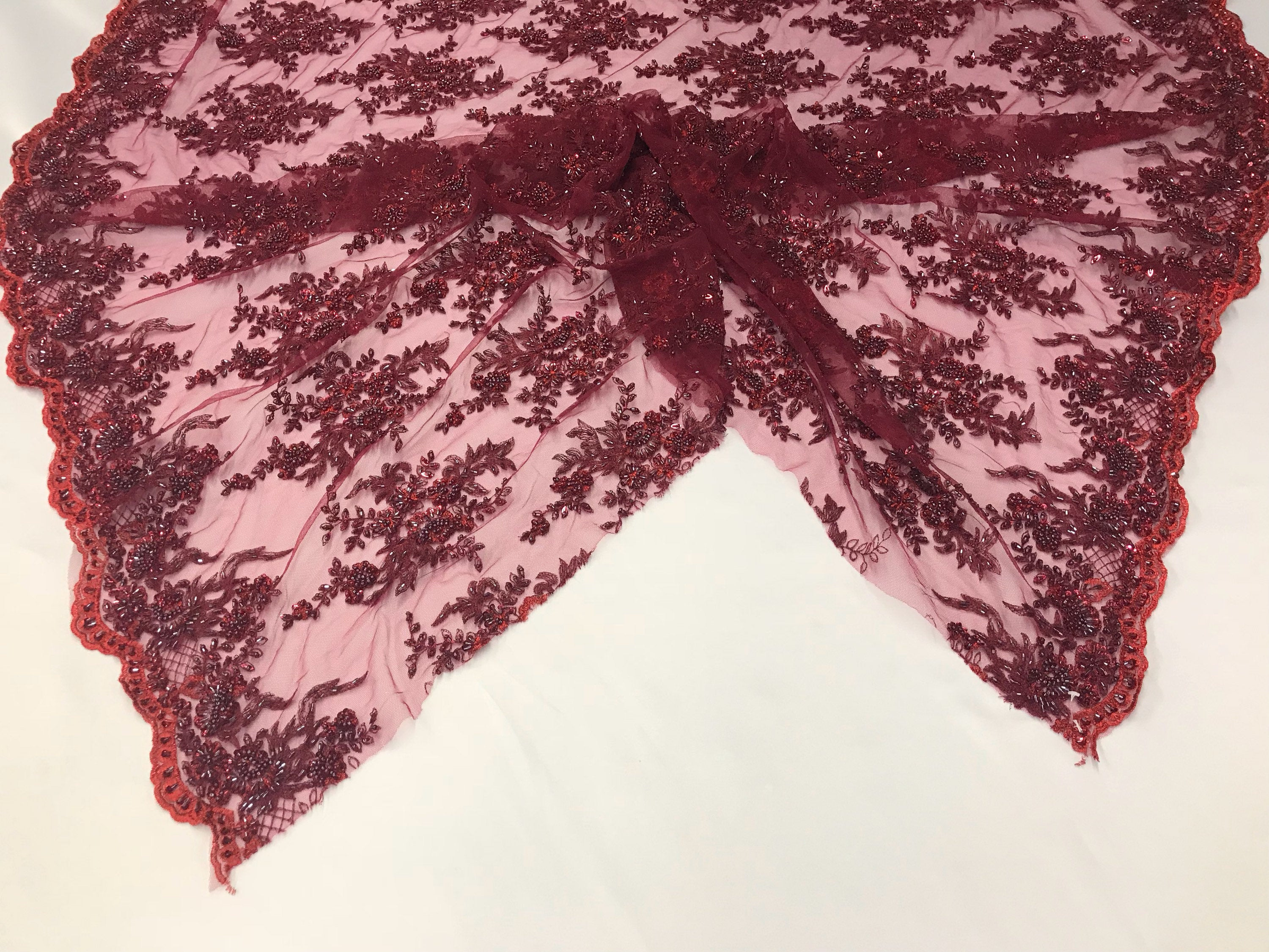 Beaded Fabric - Embroidered Lace Burgundy Hand Embroidered With Precious Stones Sequins Bridal Flower Mesh Dress Wedding By The Yard - KINGDOM OF FABRICS