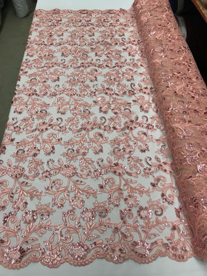 Peach Lace Fabric - By THe Yard Bridal Veil Corded Flowers Embroidery With Sequins For Wedding Dress