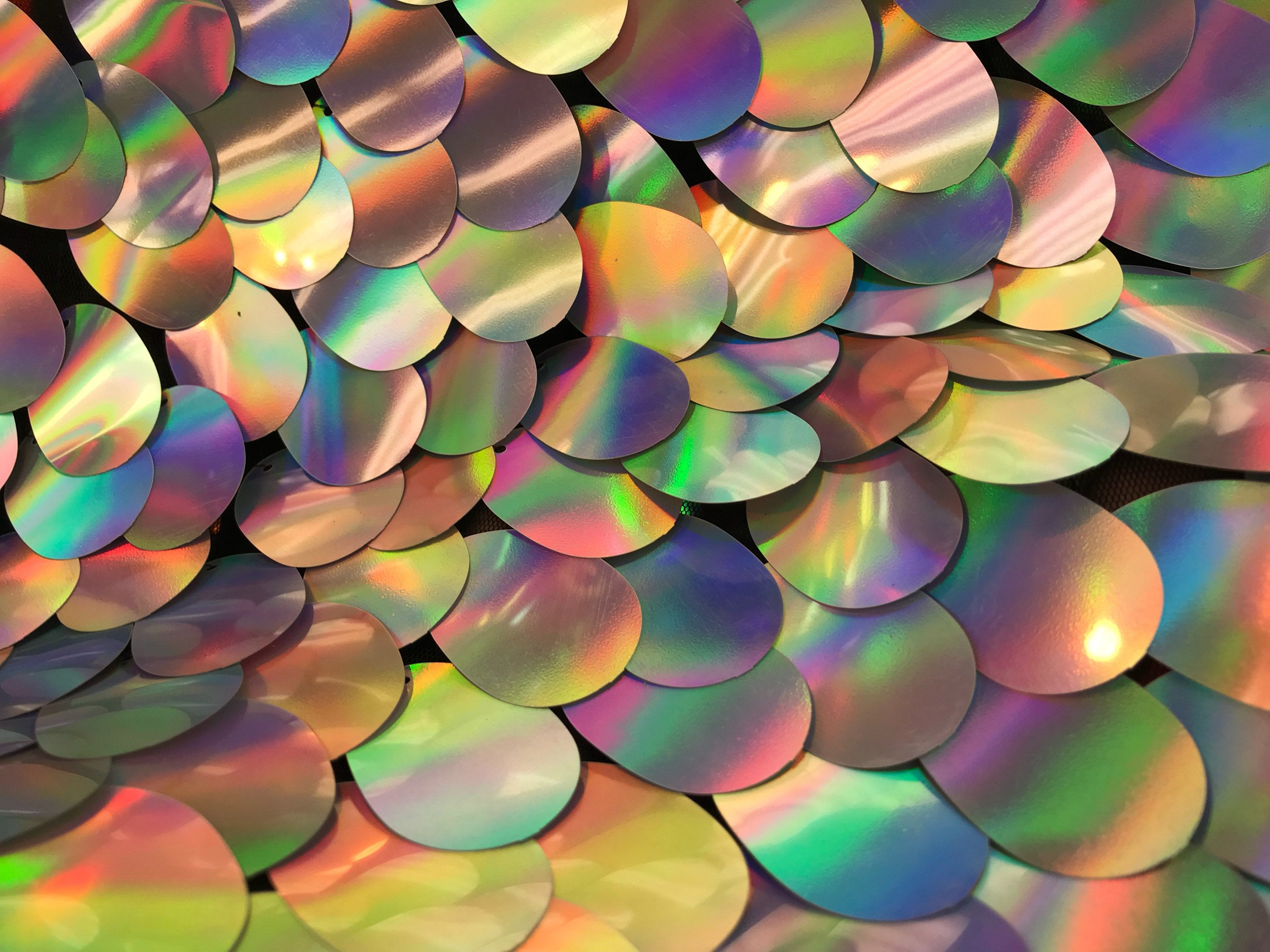 Sequins Hologram Fabric - Multi-Color Teardrops Oval 58 Inch Mesh Dress Top Sold By The Yard - KINGDOM OF FABRICS
