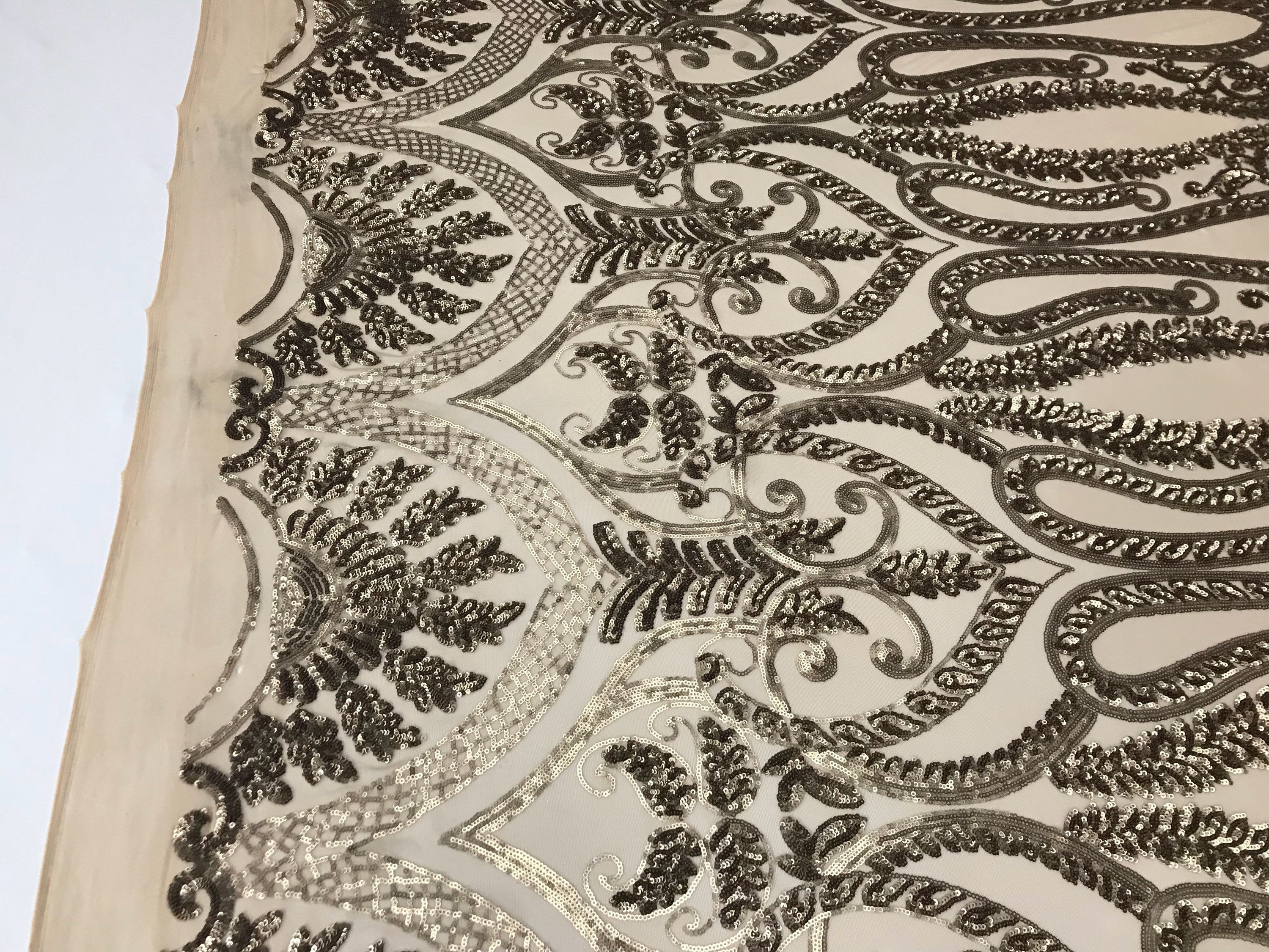 Taupe 4 Way Stretch Fabric By The Yard Sequins Fabric Embroidery Nude Power Mesh Dress Top Fashion Prom Wedding Lace Decoration - KINGDOM OF FABRICS