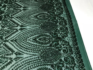 Sequins Fabric - Hunter Green 4 Way Stretch Embroider Power Mesh Dress Top Fashion Prom Wedding Decoration By The Yard - KINGDOM OF FABRICS