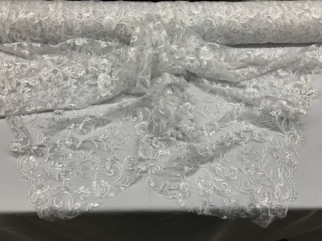 White Lace Fabric - By THe Yard Bridal Veil Corded Flowers Embroidery With Sequins For Wedding Dress - KINGDOM OF FABRICS