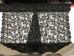Black Lace Fabric - By THe Yard Bridal Veil Corded Flowers Embroidery With Sequins For Wedding Dress - KINGDOM OF FABRICS