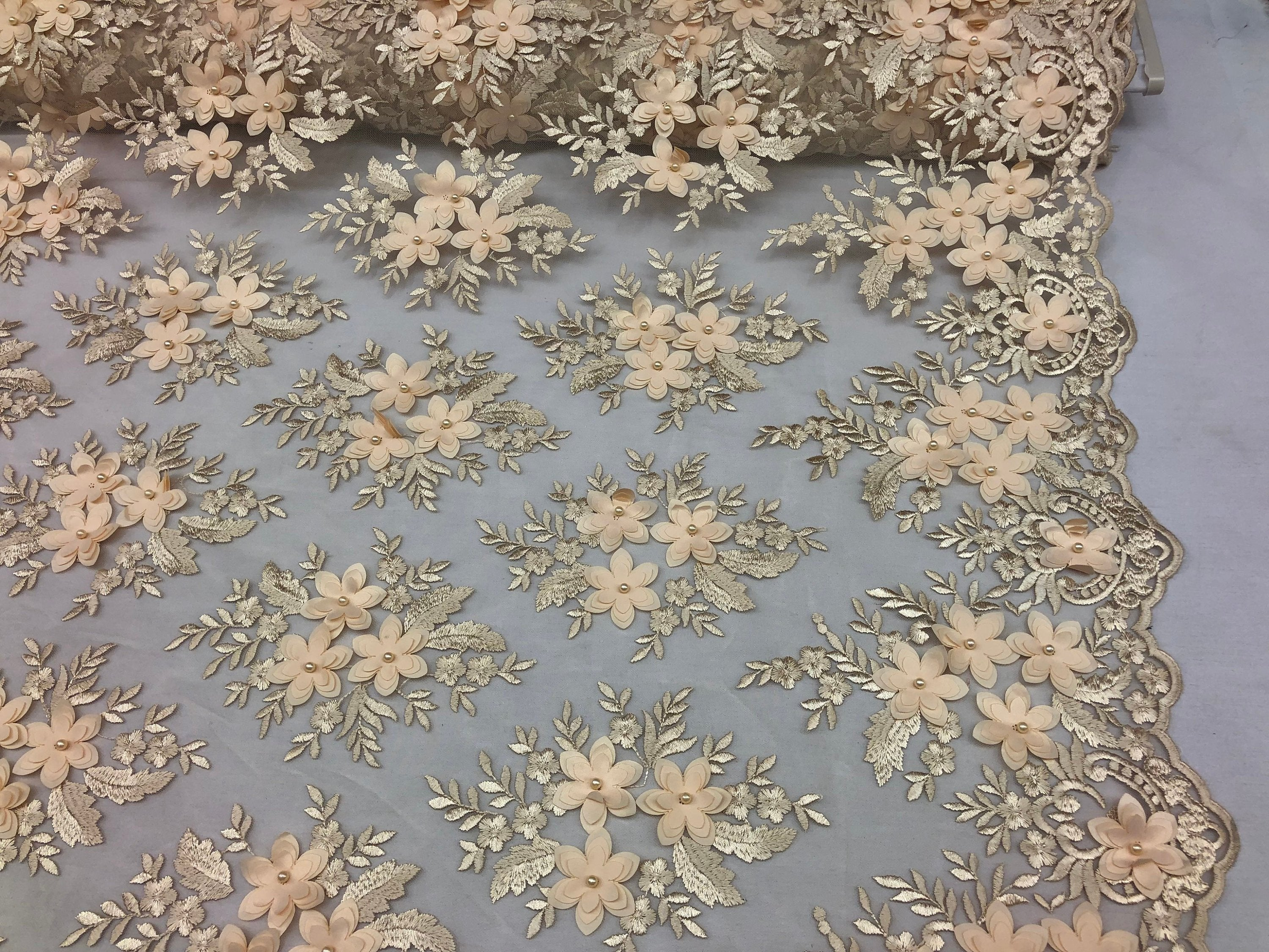 Wedding Lace Fabric - Hand Embroidered Flower 3D Pearls - CHAMPAGNE - For Bridal Veil Mesh Dress Top - Decoration By The Yard
