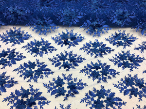 Wedding Lace Fabric - Hand Embroidered Flower 3D Pearls - ROYAL BLUE - For Bridal Veil Mesh Dress Top - Decoration By The Yard