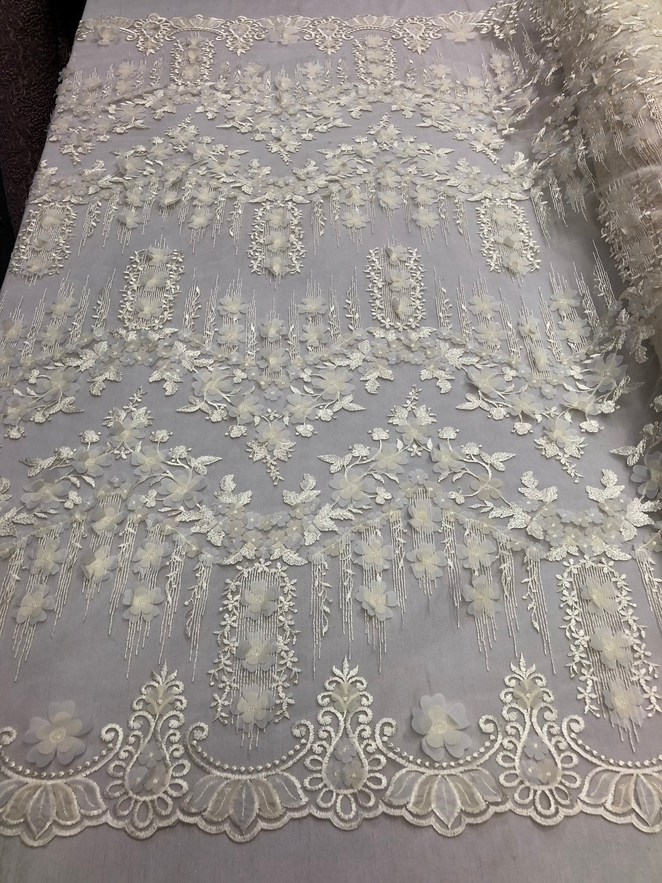 Bridal Wedding Lace Fabric By The Yard - Hand Embroidered Flower 3D IVORY For Veil Mesh Dress Top Wedding Decoration - KINGDOM OF FABRICS