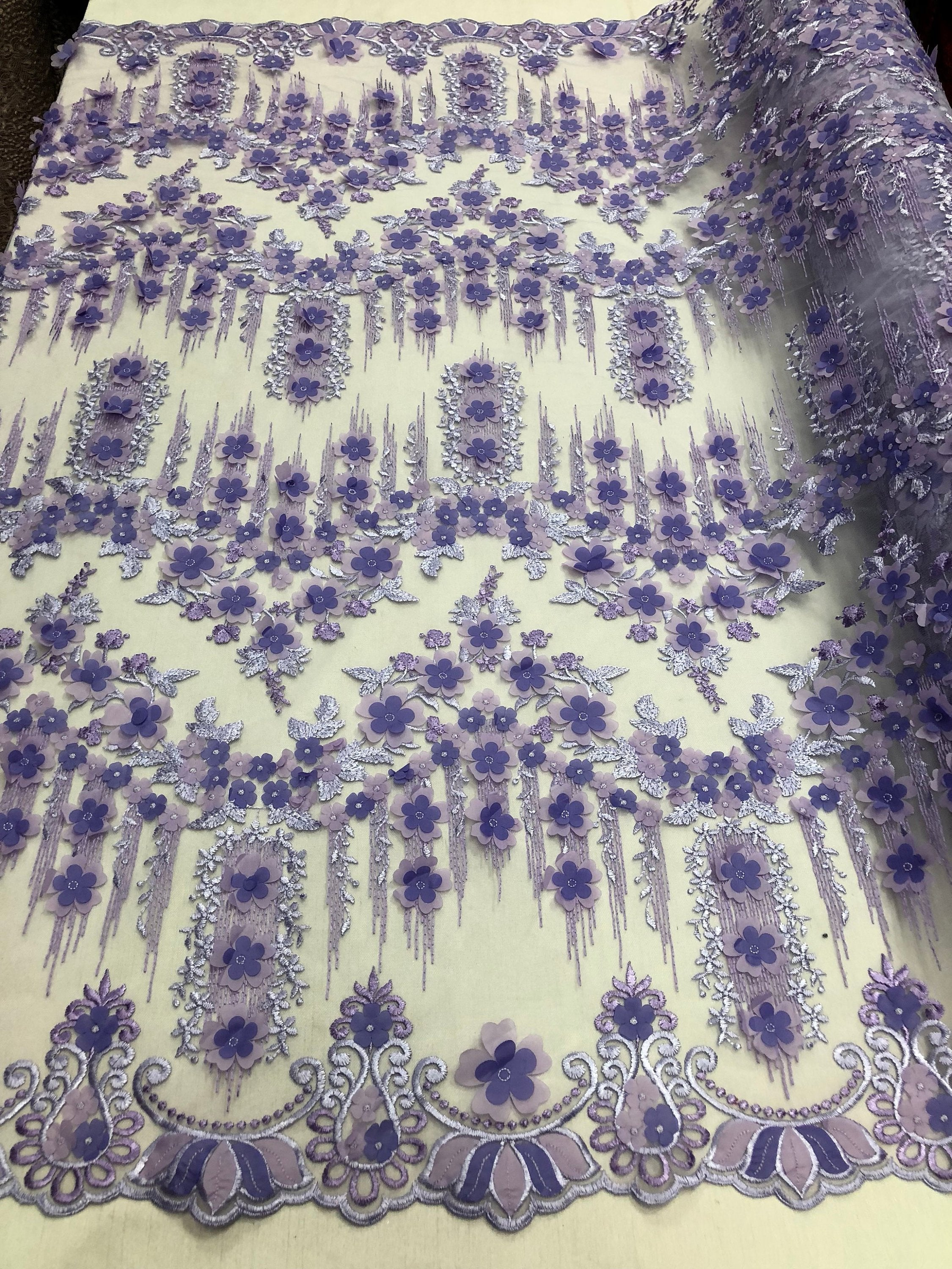 Bridal Wedding Lace Fabric By The Yard - Hand Embroidered Flower 3D LILAC For Veil Mesh Dress Top Wedding Decoration - KINGDOM OF FABRICS