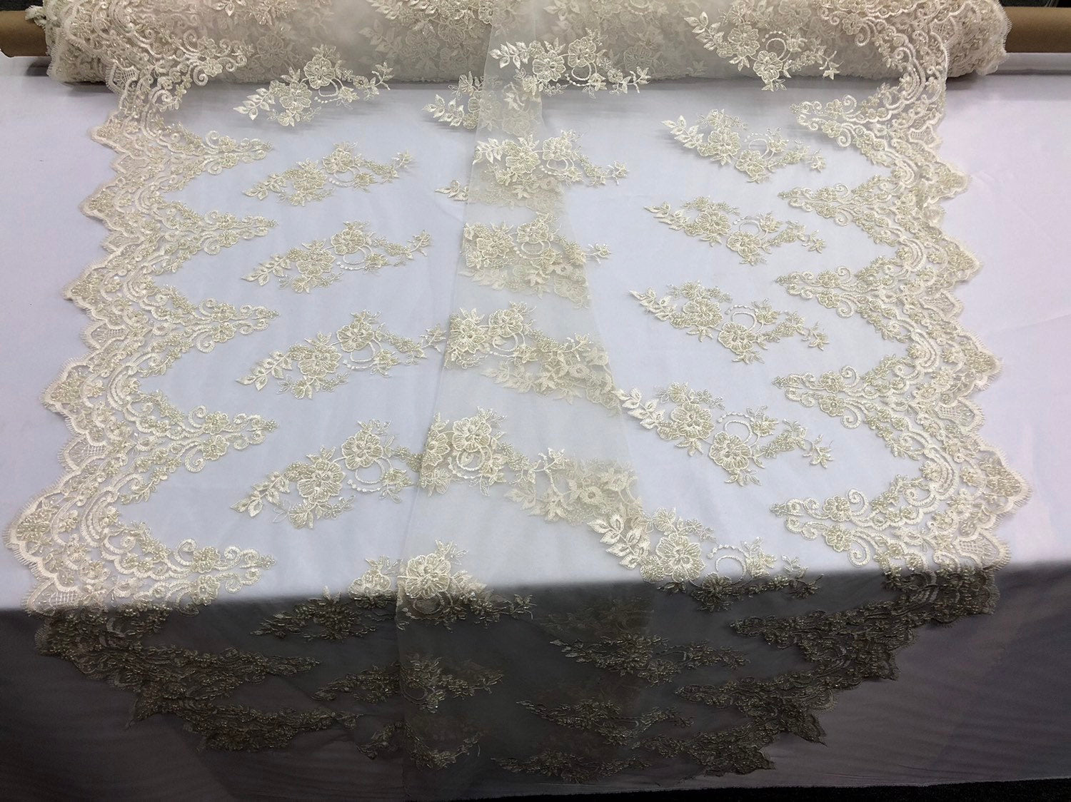 Beaded Fabric - Ivory - Lace By The Yard Embridered Lace Wiht Beads And Sequins French Bridal Veil Wedding Decoration Home - KINGDOM OF FABRICS