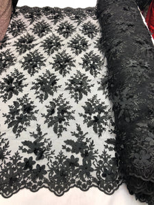 Wedding Lace Fabric - Hand Embroidered Flower 3D Pearls - BLACK - For Bridal Veil Mesh Dress Top - Decoration By The Yard