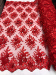 Wedding Lace Fabric - Hand Embroidered Flower 3D Pearls - RED - For Bridal Veil Mesh Dress Top - Decoration By The Yard