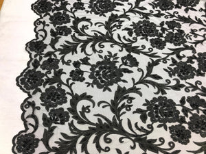 Beaded Floral BLACK - Luxury Wedding Bridal Veil Hand Embroidery Lace Sequins/Beads For Mesh Dress Top Wedding Decoration By The Yard - KINGDOM OF FABRICS