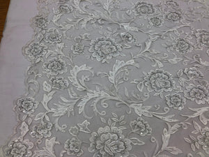 Beaded Floral WHITE - Luxury Wedding Bridal Veil Hand Embroidery Lace Sequins/Beads For Mesh Dress Top Wedding Decoration By The Yard - KINGDOM OF FABRICS