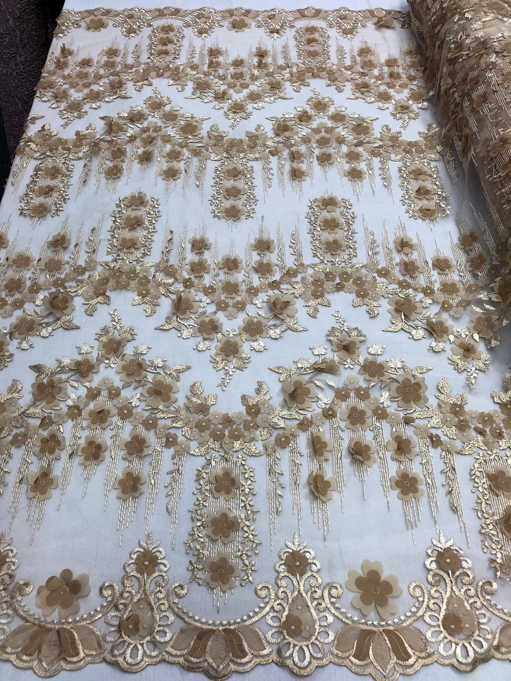 Bridal Wedding Lace Fabric By The Yard - Hand Embroidered Flower 3D CHAMPAGNE For Veil Mesh Dress Top Wedding Decoration - KINGDOM OF FABRICS