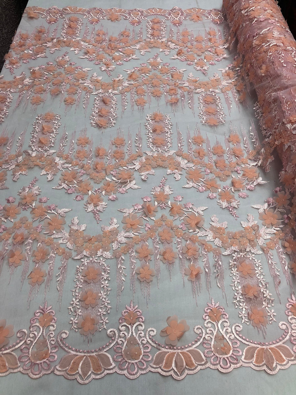 Bridal Wedding Lace Fabric By The Yard - Hand Embroidered Flower 3D PINK / PEACH For Veil Mesh Dress Top Wedding Decoration - KINGDOM OF FABRICS